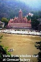 View from window seat at German bakery at Laxman jhula, Rishikesh