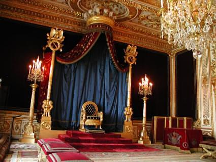 Napoleon's throne room at Chateau Fontainbleau, France