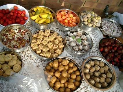 Indian sweets and fruit