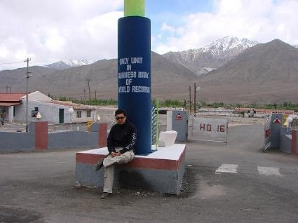 Nishant Saxena at tower of Border Roads Organization Ladakh