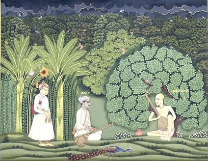A painting records Akbar's visit to Swami Haridas in Vrindavan