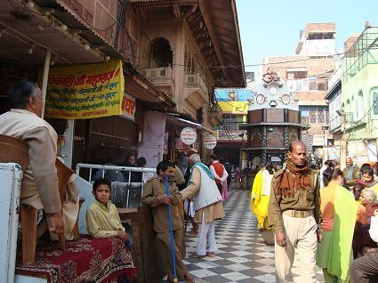 Outside Banke Bihari temple Vrindavan