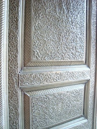 Silver crafted door to the temple premises of Sri Banke Bihari ji Maharaj