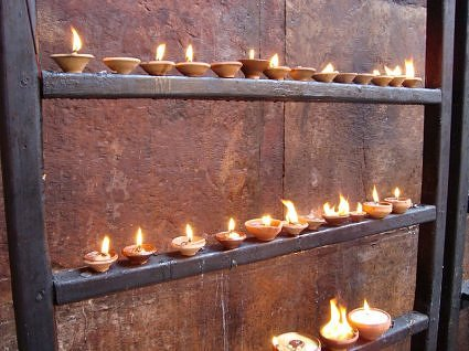 wish fulfilling lamps at Banke Bihari temple Vrindavan