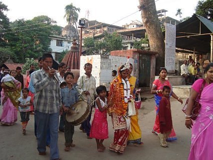 A bengal wedding procession, at Kamakhya devi temple, Guwahati, Assam
