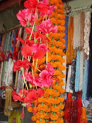 Hibiscus and marigold garlands at Kamakhya devi temple, Guwahati, Assam
