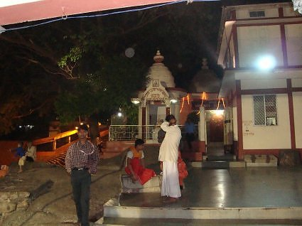 Priests in leisure time at night, Kamakha devi temple, Guwahati, Assam