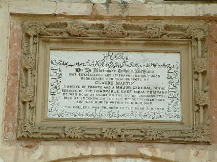 Inscription, La Martiniere College Lucknow