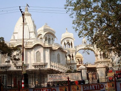 View of Iskcon temple from Raman Reti Road, Vrindavan, India