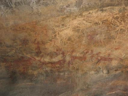 Hunting scene, Bhimbetaka paintings, Bhimbetka caves, Madhya Pradesh, India