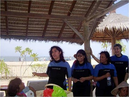 Urvashi Sahni, Ila Sarin, Mrs Singh and Sangita Gupta, after scuba diving at Nasa Dua beach, Bali