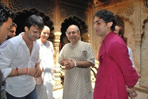 Vivek Oberoi in Vrindavan, at Sri Radha Raman temple's kitchen courtyard