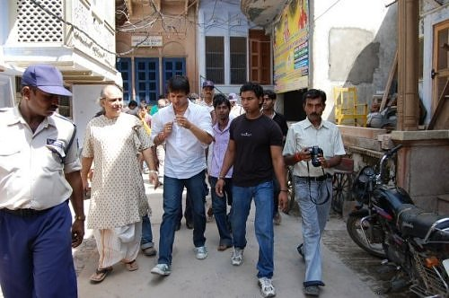 Vivek Oberoi in Vrindavan, at Sri Radha Raman temple's entrance