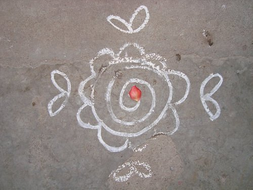 Chalk Rangoli design