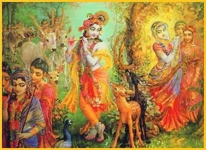 Krishna in Vrindavan, painting