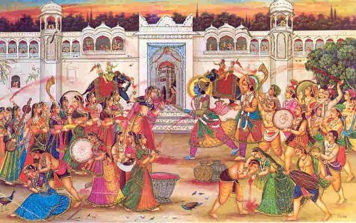 Indian Pahari painting, Krishna playing holi
