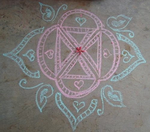 make kolam rangoli