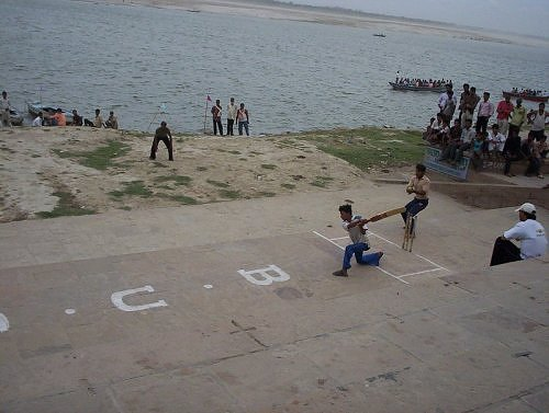 Cricket match on the banks of River Ganga, Varanasi