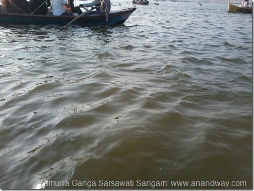 sangam water different colours of yamuna ganga