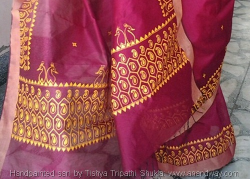 Handpainted Indian sari by Tishya Tripathi Shukla