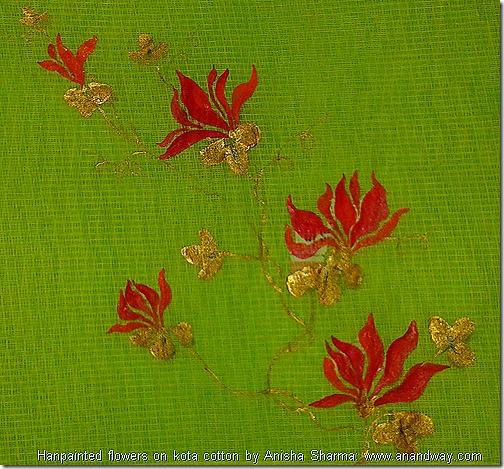 floral patterns handpainted on sari covers (6)